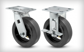 E-Line 2 Inch Wide Rubber On Iron Wheel Casters