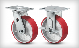 E-Line 2 Inch Wide Poly On Iron Wheel Casters