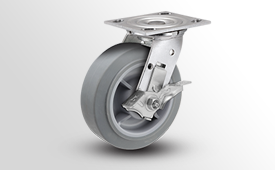 E-Line Stainless 2 Inch Wide TPR Flat Wheel Casters
