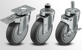A-Line 1 1/4 Inch Wide Thermo Rubber Wheel Casters